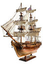 Replica of the old sailfish bounty hm armed vessel historic sailing ship as wooden model Stock Photography