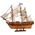 Replica of the old sailfish bounty hm armed vessel historic sailing ship as wooden model Royalty Free Stock Photo