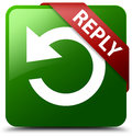 Reply rotate arrow icon green square button Royalty Free Stock Photo