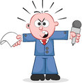 Reporter angry and shouting cartoon holding paper microphone Stock Photos