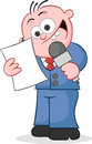 Reporter happy cartoon holding microphone and reading script Stock Photo