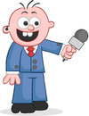 Reporter holding microphone cartoon happy and Royalty Free Stock Image