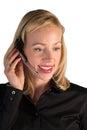 Representante del servicio de atención al cliente que habla en el teléfono Fotos de archivo libres de regalías