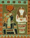 Representation of Egyptian pharaohs on textile for women`s headscarves. Royalty Free Stock Photo