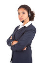 Representative businesswoman with headset Royalty Free Stock Image