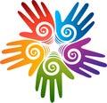 Represents star hands logo Royalty Free Stock Photo