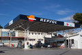 Repsol valencia spain january a gas station in valenica is a spanish multinational oil and gas company based in madrid it Stock Photo