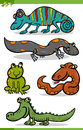 Reptiles and amphibians cartoon set illustration of funny Stock Photos