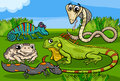 Reptiles and amphibians group cartoon illustrations of funny animals characters Stock Photo