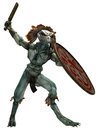 Reptilian warrior d render of a with a shield and a sword Royalty Free Stock Image