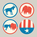 Republican elephant and democrat donkey buttons