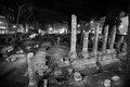 Republican roman temples and the remains of pompeys theatre ancient campus martius rome italy columns black white Royalty Free Stock Image