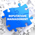 Reputation Management on Blue Puzzle. Royalty Free Stock Photo