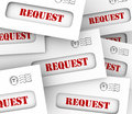 Request envelope pile mail delivery customer asking jobs tasks word on envelopes in a as customers or companies for information or Royalty Free Stock Photography