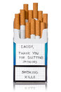 Request for quit smoking on the cigarettes pack isolated white background Royalty Free Stock Photography