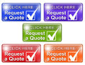 Request a quote web buttons w check mark colorful shiny that say click here that includes graphic Royalty Free Stock Photo