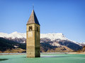Reschenpass famous historic bell tower at the italy Stock Photography