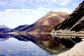 Reschenpass lake near the lago di resia south tyrol italy Royalty Free Stock Images