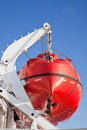 Rescue boat large is suspended on a ship way Stock Images