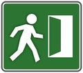 Rescue emergency exit sign template with escaping figure Royalty Free Stock Images