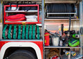 Rescue equipment of fire-brigade car Stock Photos