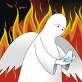 Rescue from fire angel rescues a bird the Stock Image