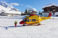 Rescue helicopter in mountain Royalty Free Stock Photo