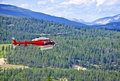 Rescue helicopter in mountains Royalty Free Stock Photography
