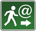 Rescue ironic emergency exit sign for internet and email Royalty Free Stock Images