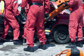 Rescue operation after a car crash Royalty Free Stock Photo