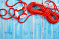 Rescue rope with life preserver and bottle Royalty Free Stock Photo