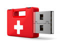 Rescue usb flash drive on white background d image Royalty Free Stock Photo