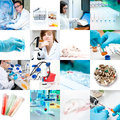 Research environment and workers, collage Stock Images