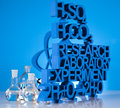 Research and experiments chemistry formula laboratory glassware Royalty Free Stock Image