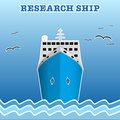 Research or fisherman nautical vessel illustration of the scientific background of trendy style with paper applications is and Royalty Free Stock Photography