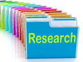 Research folders mean investigation meaning gathering data and analysing Royalty Free Stock Images