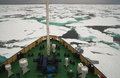 Research vessel in icy arctic sea on Royalty Free Stock Photo