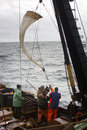 Research vessel oceanography and hydrobiology lowering plankton net juday net sh russia pacific ocean september ship in pacific Stock Photography