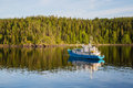Research vessel off the coast of the island of Valaam Royalty Free Stock Photo