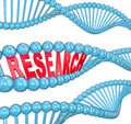 Research word dna strand medical laboratory study the in red letters hidden within a blue to illustrate studies Stock Photos