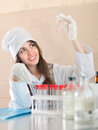 Research worker with test tubes making experiment Stock Photos