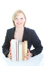 Researcher or student with books Stock Image