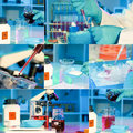 Researchers work in modern scientific lab collage preparation of hazardous solution Royalty Free Stock Photo