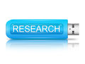 Researchl concept illustration depicting a usb flash drive with a research Stock Image