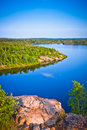 Reservation area in canada showing the lake and trees Royalty Free Stock Photo