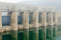 Reservoir dam a medium equipped with generators Royalty Free Stock Images
