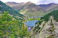 Reservoir, sancuary, and dam of Vall de Nuria Royalty Free Stock Photo