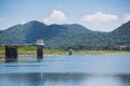 Reservoir in sunnyday with mountain in the background Royalty Free Stock Photography