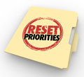 Reset Priorities Manila Folder Files Top Most Important Jobs Tas Royalty Free Stock Photo