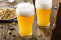 Resfreshing golden lager beer in a pint glass Stock Image